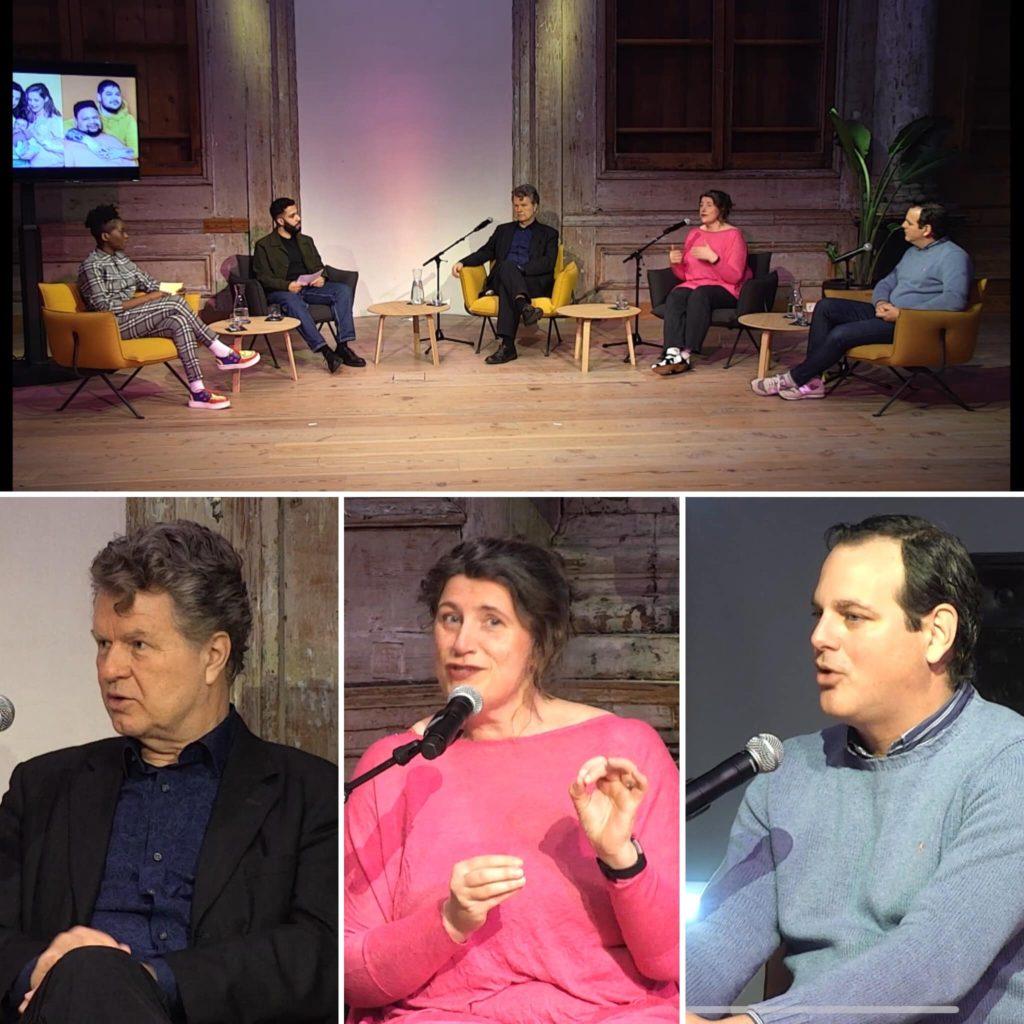 Een collage met hierop portretten van Boris Dittrich, Irene Hemelaar en Angelo Tromp. Ook een overzichtsbeeld met vlnr presentatoren Jennifer Muntslag en Bo Hanna, Boris, Irene en Angelo